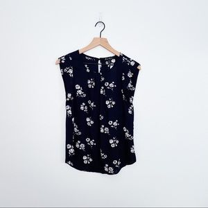 ALICE BLUE AMBRIZ Pleated Top Floral Navy Size PS
